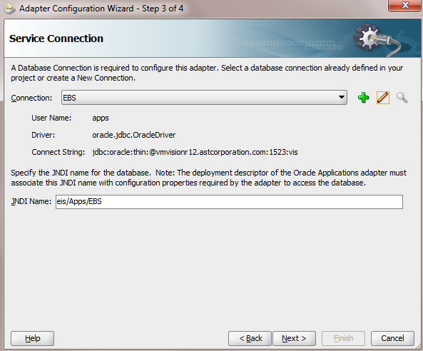 Configuration Step #3 EBS Adapter Wizard Configuration Opens up.