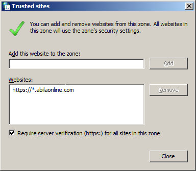 Connecting to the Portal Using Internet Explorer 4. Add the abilaonline.com domain to the IE trusted sites list: a. Select the Security tab and click the Trusted Sites icon. b.