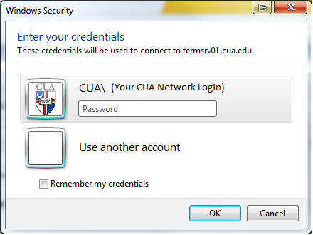 Connect to TS-ACCESS Remote Desktop Connection prompts for the computer to which it should connect. Enter ts-access.cua.edu at the Computer prompt. Then click the Connect button.