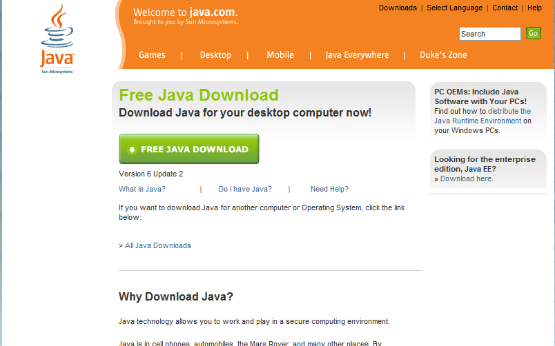 2.3.8. Java runtime The browser will need to have Java tm technology enabled. To download the latest version of Java go to; http://www.java.com/en/download/index.