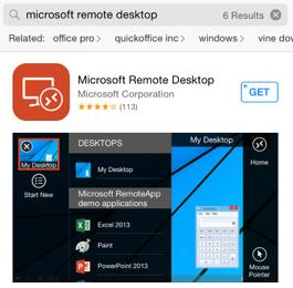 ipad iphone/ipad How do I use the iphone/ipad Client? 1.) Go to the Apple App Store and search for Microsoft Remote Desktop 2.