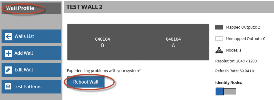 4. Verify the DVI cabling/adapters are properly configured and the signal strength is good. 5. Reboot the wall. 6. If the problem persists, contact technical support.