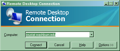 Accessing SPSS To connect to SPSS (either from Washburn s computer labs or your home computer that is connected to the internet) use the following procedure: 1. Run Remote Desktop Connection.