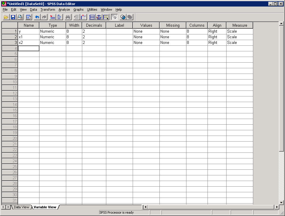 Typing data directly in SPSS 1. In SPSS select, File>New>Data 2. Click on the Variable View tab (at the bottom of the screen). 3.
