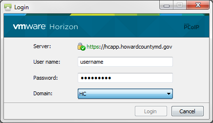 VMWare Horizon Client Configurations Add a Connection Server to the VMware Horizon Client Click the + New Server or + Button or double-click the Add Server icon to add a Connection Server.