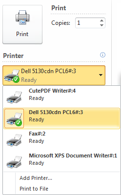 Printing through Remote Desktop Services (RDS) You may print documents through RDS where locally install printers are available. With the application open, click the File tab and then click Print.
