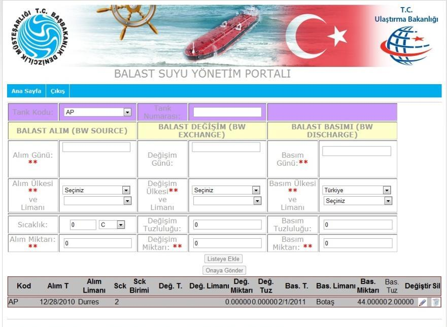 BALLAST WATER REPORTING FORM MANAGEMENT PORTAL MAIN PAGE EXIT Tank Code Tank No Source date Source Port and Country Temperature