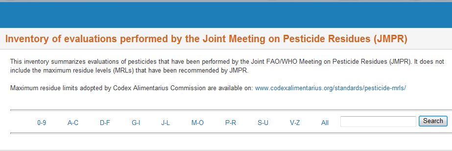 JECFA and JMPR databases http://apps.who.