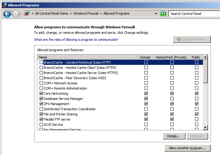 Click Allow a program or feature through Windows Firewall and verify the following programs
