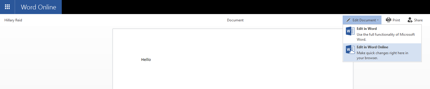 You can make changes to the document by clicking on the Edit Document option in the top-right of the screen.
