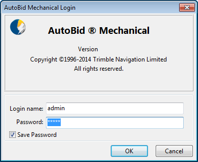7 Getting Started 2. The AutoBid Mechanical Login window displays. You must enter a password to access the database.