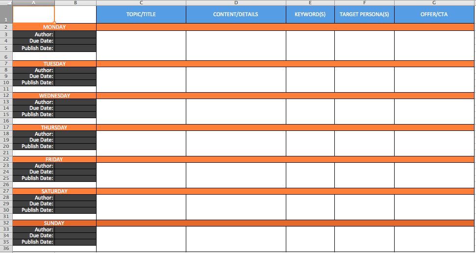 WORKSHEET BLOGGING CALENDAR.