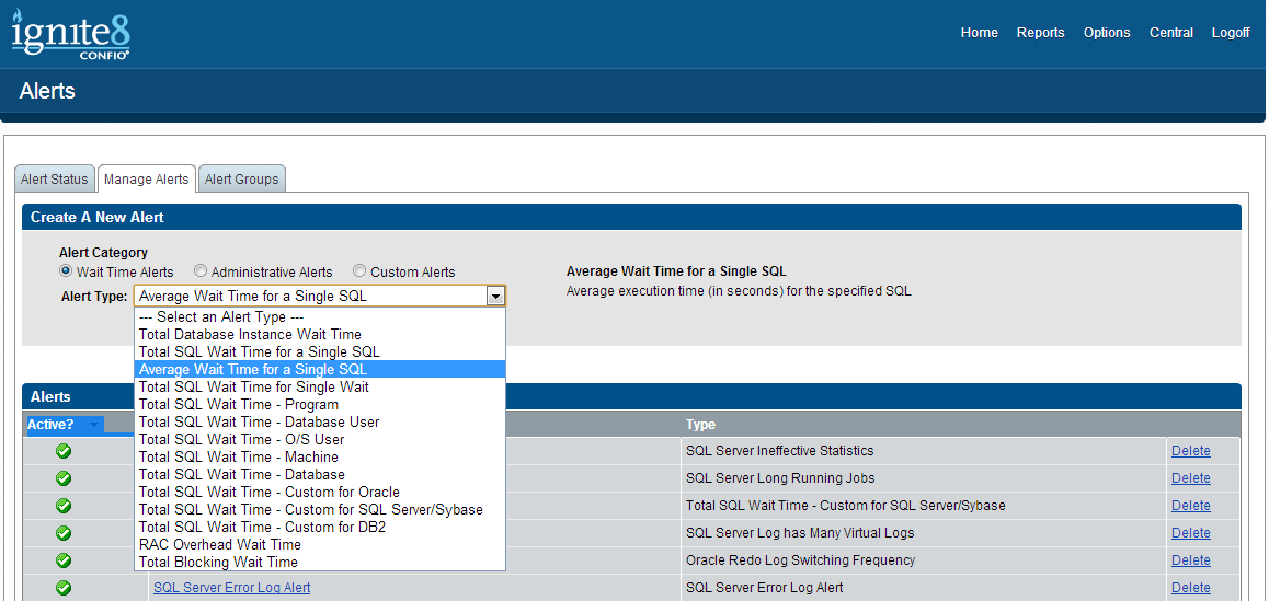 Screen 15: Create a new alert Press Create Alert and fill in the details as in Screen 16 to match your SQL query.