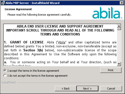 Chapter 2: New User - Server Install 5. The End User License Agreement displays.