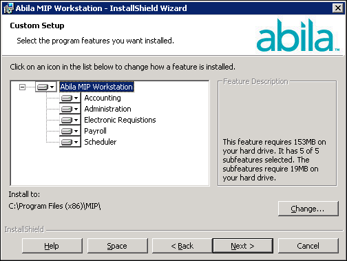Workstation Install 3. Click Next. Accept the default MIP destination folder (recommended), or use the Change button to navigate to a different location. 4. Click Next. The Custom Setup panel displays, which allows you to select the systems you would like to install.