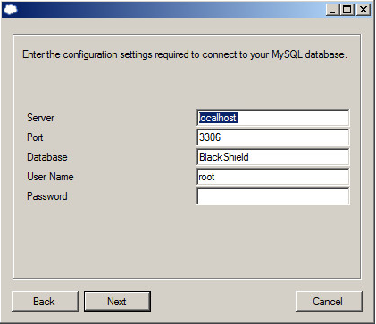 Enter the configuration settings required for your SQL
