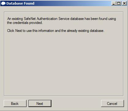 server is inaccessible. 5. On the Database Found window, click Next. 6.