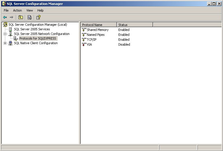 The other settings that need to change in the SQL Server Configuration Manager are the Protocols for SQLEXPRESS located in SQL Server 2005 Network Configuration menu option.