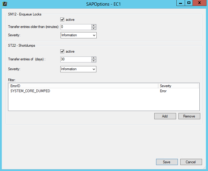 - Remove Entry - Remove Discoveries from SCOM - Enable / Disable TransactionsOptions Additional functions that can be activated for an SAP system. SM12: Checks whether locked entries exist.