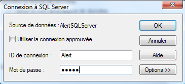 And press OK. To complete the connection string, enter the login and password to connect to SQL server.