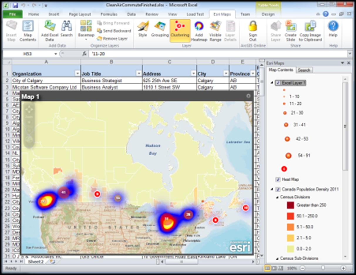 Esri Maps for Office Add-On for Microsoft Office Mapping in