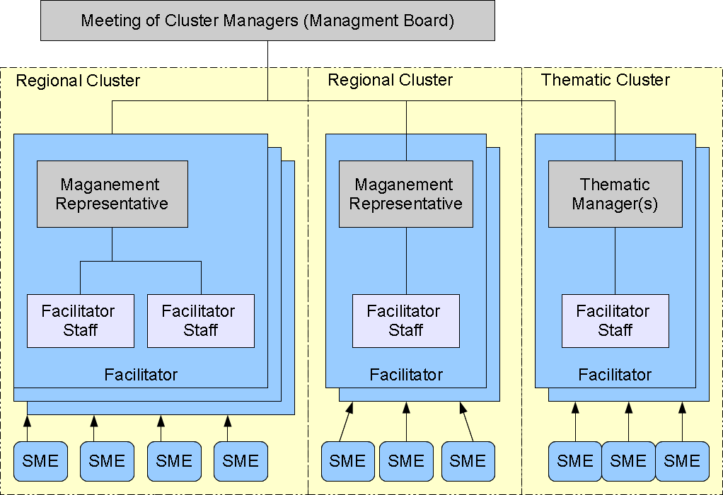 2.2. Organization Overview The network of clusters is organized as shown: There are regional and thematic clusters.