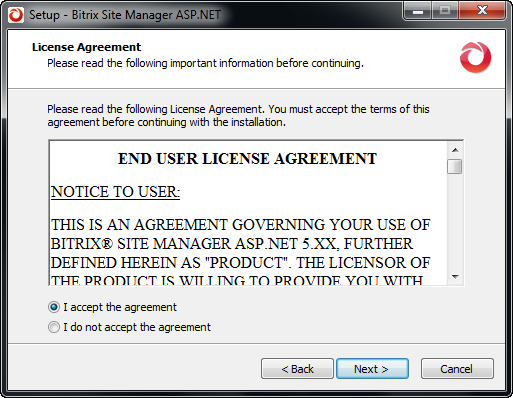 Step 2. The License Agreement Fig. 3.2 The License Agreement Read the License Agreement carefully (fig. 3.2).