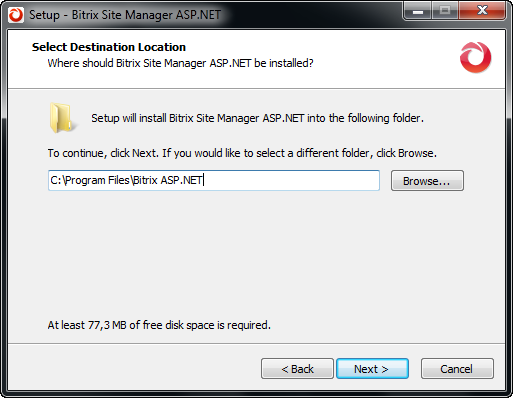 Step 3. Choosing the Installation Folder Fig. 3.3 Destination folder selection Specify the folder to which the Bitrix Site Manager ASP.