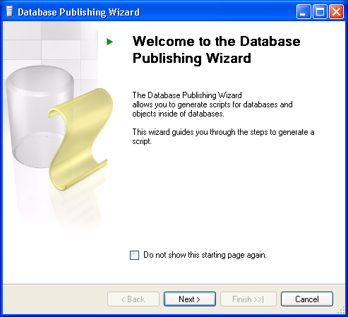 Run the tool by selecting Start > Programs > Microsoft SQL Server Database Publishing Wizard > Data publishing