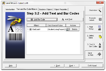 29. Click Finish. You will return to the Label Wizard, which will display the Step 3.2 Add Text and Bar Codes page. The bar code you just created will appear in the list. 30.