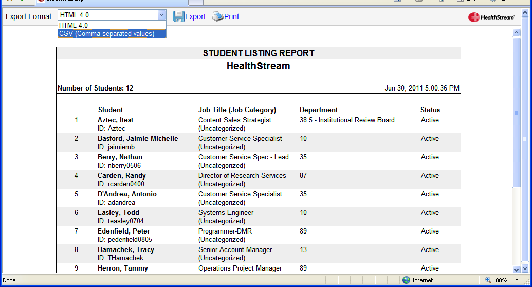 Creating New Spreadsheets: If you do not have an existing spreadsheet that contains all your student names and HLC User IDs, you can generate a report from the HLC that contains this data.