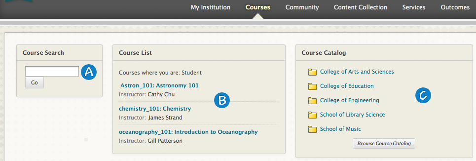 Courses Tab The Courses tab contains a list of the courses you are enrolled in. Remember that your institution can rename tabs. Exploring the Courses Tab 1.