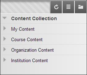 Content Collection Content Areas There are four areas under Content Collection: My Content, Course Content, Institution Content, and Library Content, but you will primarily be using My Content and