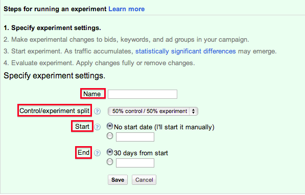 4.3 Using AdWords Experiments AdWords has its own build in
