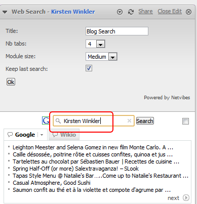 7 Add your company / product name into the search text field. Then click OK to leave the edit mode. You will see Google and Wikio as separate tabs. It s easy to quickly switch between the two. 2.4.