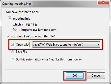 Select Open with Java (TM) Web Start Launcher (default) and click OK.
