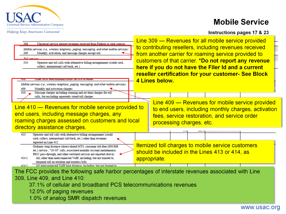 Mobile services. Mobiles services are either going to be reported on line 309 or line 410.