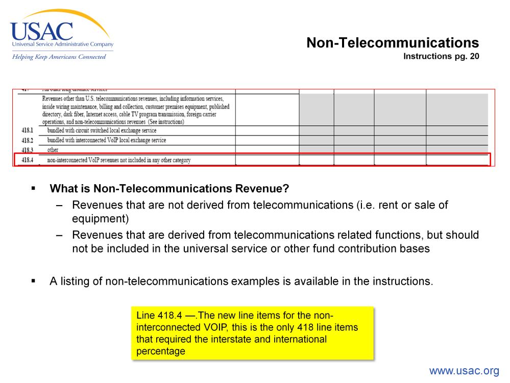 The non-telecommunications revenue. What is non-telecom? Revenues that are not derived from telecommunications (i.e., rent or sale of equipment).