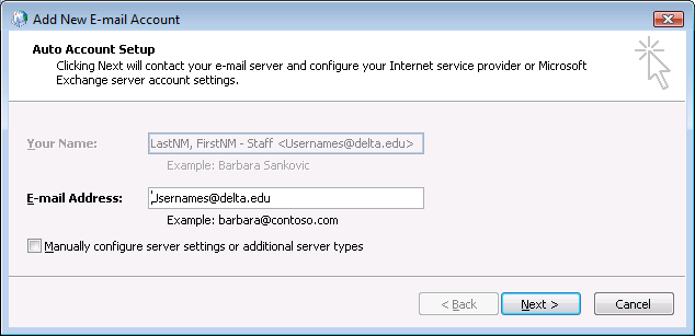Steps to configure Outlook 2007 for off-campus connections The following steps apply to creating an Outlook 2007 profile used to connect to Exchange externally via RPC/HTTPS. 1.
