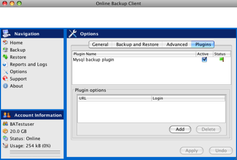 In the Plugins-tab, you can set the options for all available plugins. 4.