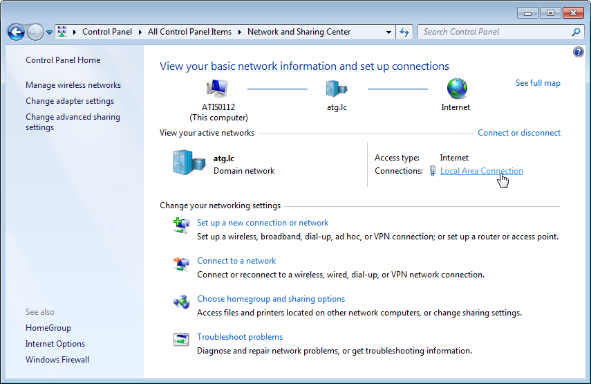 Figure 13. Control Panel with Large Icons 3. Click Network and Sharing Center.