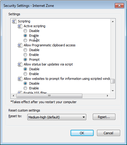 Installation Guide Figure 21. Security Settings Window 8. Change the setting of Active scripting to Enable. 9.