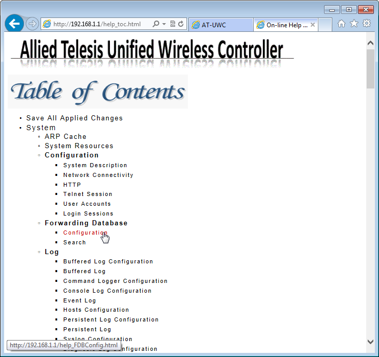Figure 31. AT-UWC WLAN Controller Online Help TOC 4.