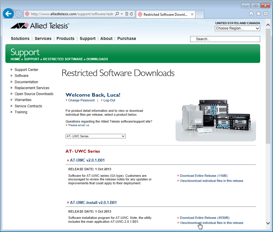 Installation Guide Figure 3. Restricted Software Downloads AT-UWC Page 5.