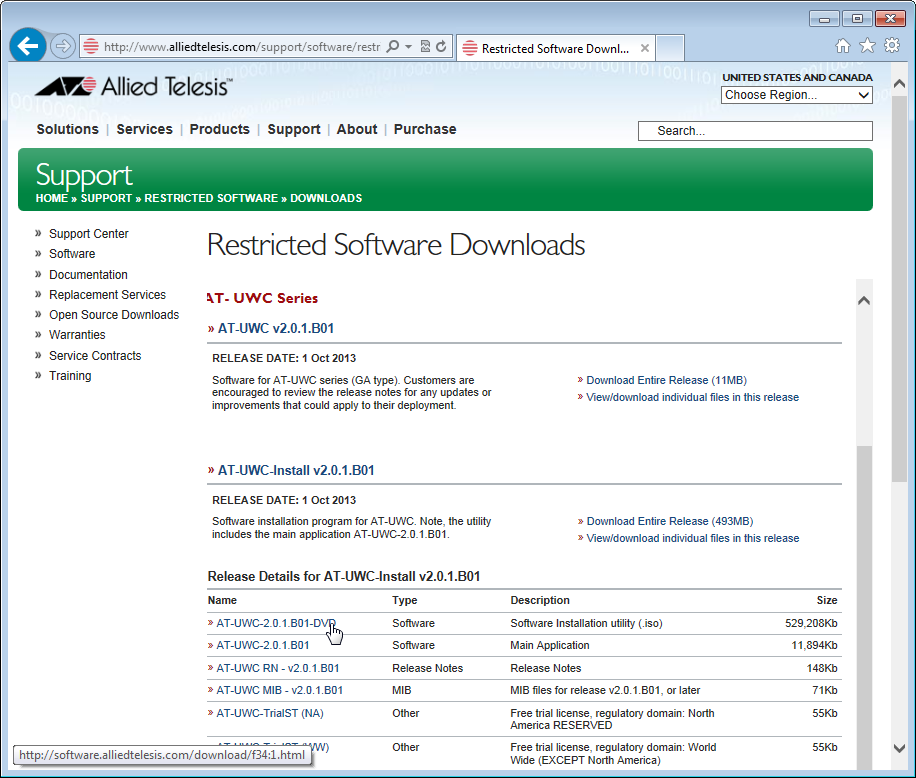 Figure 4. Restricted Software Downloads AT-UWC Page 6. Select AT-UWC-2.0.1.B01-DVD from the list and save it onto your system.