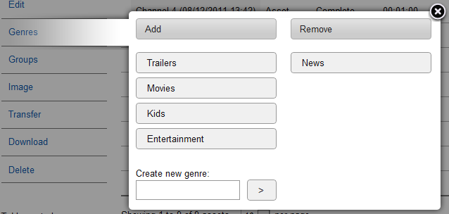 Adding Assets to Genres Adding an asset to a genre helps organise content within the IPTV network.