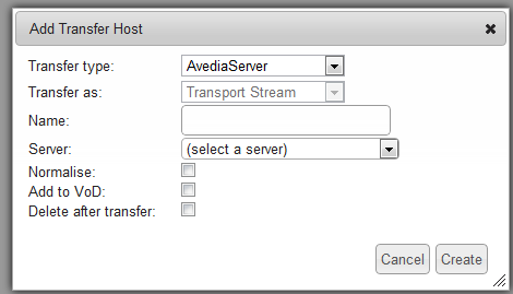 10. Click the Create button to complete the setup. 11. Confirm the new FTP destination is added to the transfer page as shown below (FTP Server): 12.