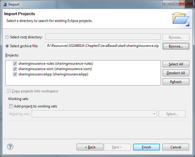 3. In the Import Projects dialog, select the Select Archive File option and browse to the sharinginsurance.zip file.