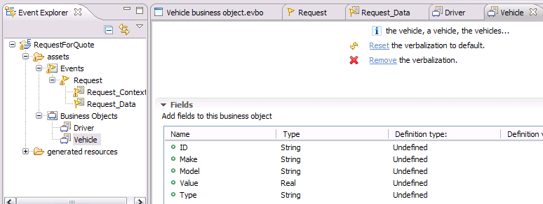 9. Two business objects, Driver and Vehicle, are created, as shown in Figure 8-5. Figure 8-5 Creating the business objects 8.2.