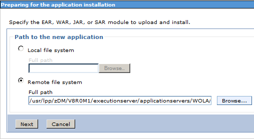 5. It is now necessary install the WOLA Enterprise JavaBeans (EJB) into WebSphere Application Server. This application is used to listen for the WOLA input.